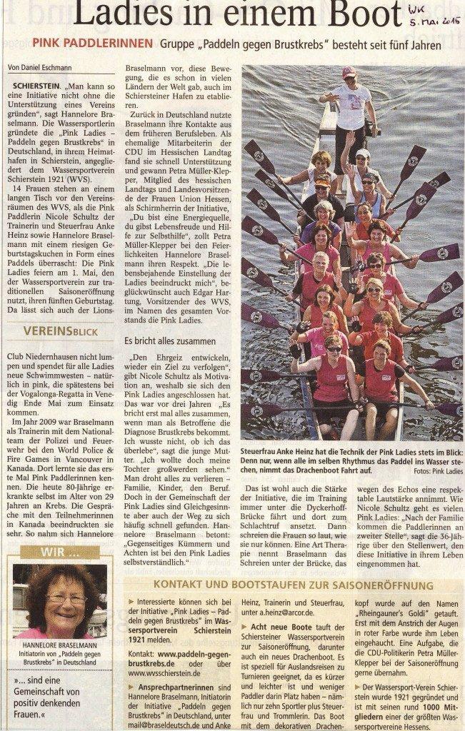 Wiesbadener Kurier: Ladies in einem Boot. Paddeln gegen Brustkrebs seit 5 Jahren im WVS